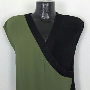 41 Hawthorn womem top tunic black green size S